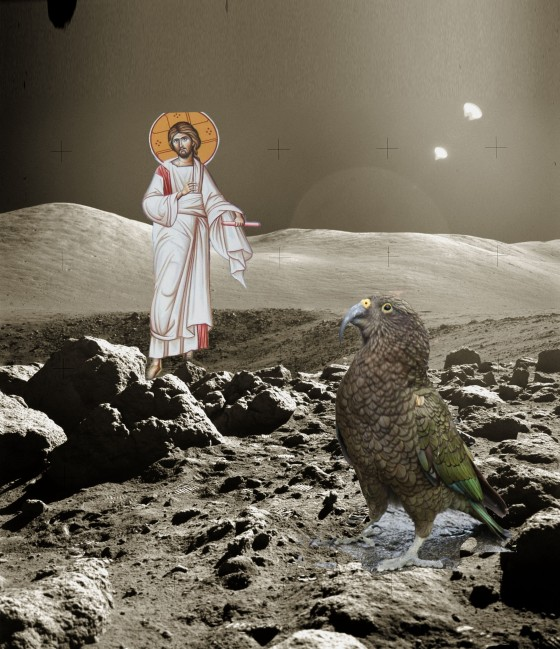 The Witness of the Kea / Christ of the Aeons. G. Barnes. 2013. [Photoshop Study]